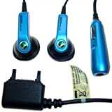 100% Genuine Sony Ericsson HPM-64 Stereo Personal Headset Handsfree - Blue