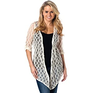 Womens Crochet Knit Flyaway Cardigan with tab sleeve, Cream S