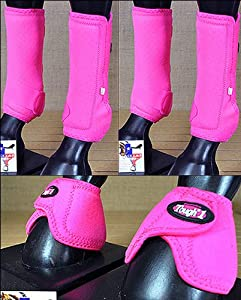 F11 Lrg Tough 1 Rear Front Leg Vented Medicine Horse Splint Sports Bell Boots by HILASON