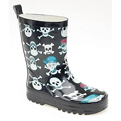 Stormwells skull & cross bones print kids wellington
