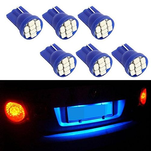 Partsam 6PCS Blue T10 168 194 2825 8-Epistar-3020-SMD LED Bulbs for License Plate Lights (1997 Toyota Tercel Accessories compare prices)