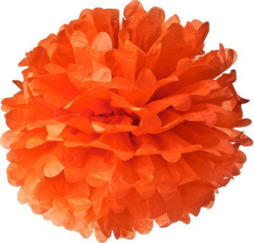 Orange Tissue Paper Pom Pom Flowers (10″, 3 Pack) – Harvest Autumn / Fall Birthday Halloween Party Paper Tissue Pom Poms, Outdoor / Indoor Wedding Hanging Paper Puff Balls