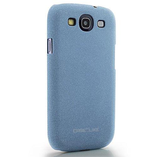 CaseiLike®, Blau, Treibsand gummierte rutschsichere S3-Snap-on zurück Gehäuse für Samsung Galaxy S3 S 3 S III SIII i9300 mit Displayschutzfolie 1pcs.