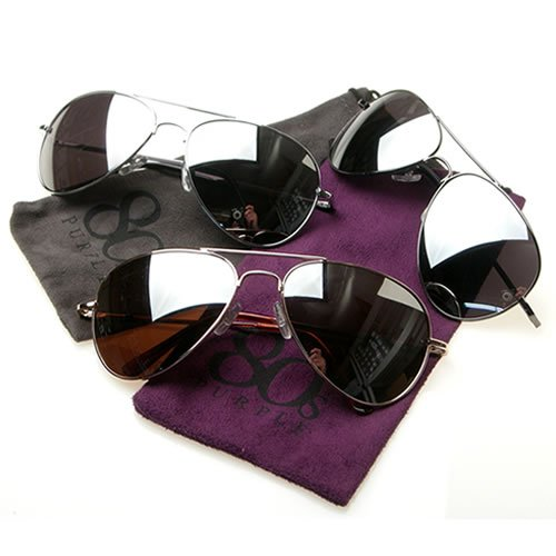 3 Pcks 80s Style Purple Mirrored Aviators