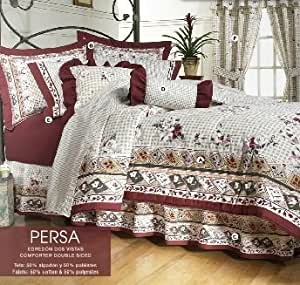 Limited edition 39 persa 39 complete double sided comforter set and curtains queen for Complete bedroom sets with curtains