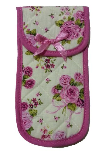 "Fabric Eyeglass Case Holder With Velcro Closure, Size 3.5"" X 6.7"" Rose Print, Off White&Pink Color front-501397"