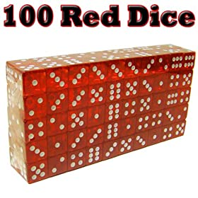 100 Red Dice - 19mm