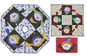 Frosted Friends Quilt pattern with a snowman on a tree skirt, table topper or placemat