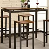 5pc Bar Table and Stools Set Veneer Top Matte Black Metal