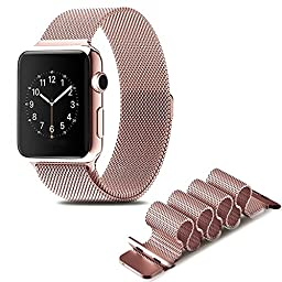 LSoug Apple Watch Band - Magnet Closure, 38mm Milanese Loop Stainless Steel Bracelet Strap, Replacement Wrist Band for iWatch - Rose Gold