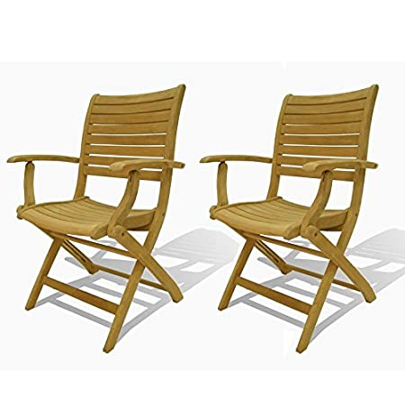 Dublin 2 PieceTeak Folding Armchair Set With Chanasya Polish Cloth