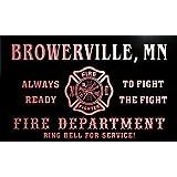 qy58199-r FIRE DEPT BROWERVILLE, MN MINNESOTA Firefighter Neon Sign Barlicht Neonlicht Lichtwerbung