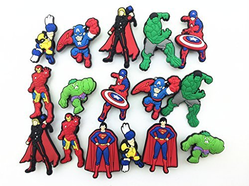16 Avengers Iron Man Captain America Shoe Charms for Fit Croc Shoes & Bracelet Wristband Kids Party Birthday Gifts