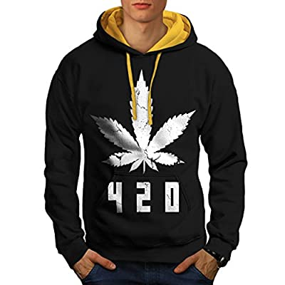 White Cannabis Leaf Weed Plant Men NEW Black (Gold Hood) S-2XL Contrast Hoodie | Wellcoda