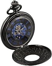 Comprar Alienwork Retro Reloj mecánico de bolsillo esqueleto remonte grabado Metal azul negro W891B-01