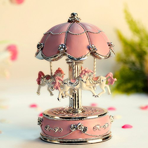 LIWUYOU Luxury Small Color Change Luminous Rotating Carousel Horse Musical Box With Music of Castle in the Sky Color Pink,Colorful LED Light