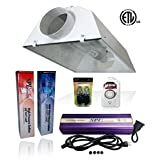 SPL Horticulture Stwk 1000 Hydroponic 600w Watt Grow Light Digital Dimmable HPS Mh System for Plants Gull 6 Inch Air Cooled Hood Reflector kit