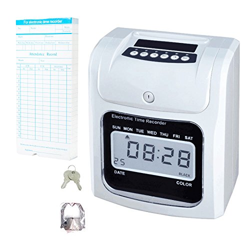 NATAMO Time Clock Bundle with 50-Card & Ribbon Cartridge, Electric Time Recorder Time Card Machine Time Attendance Punch Clock-for Employees,Small Business,Company, Hospital, School, Factory ... (Electric Time Stamp Machine compare prices)