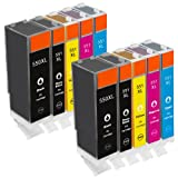 10 New Version Premium Quality High Capacity 100% Compatible ink cartridges for Canon 551XL 550XL Multipack CLI-551 PGI-550 Pixma MG5450 MG6350 IP7250 MX925 Compatible with CLI-551XL BK CMY PGI-550XL BK(2 Small Black 2 large Black 2 Cyan 2 Magenta 2 Yell