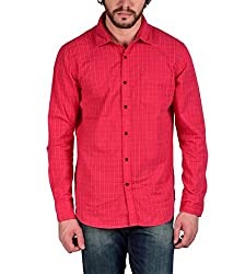 Enryca Men's Casual Shirt(ENMSH 0090RED -XXL_Red_46)