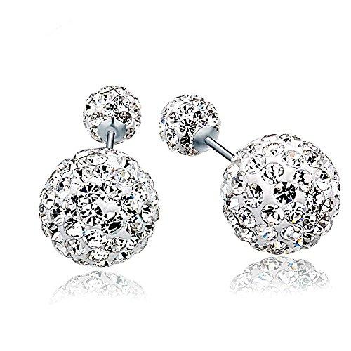 findout signore swarovski sterling silver pieno di diamanti doppio perline orecchini (s1511)
