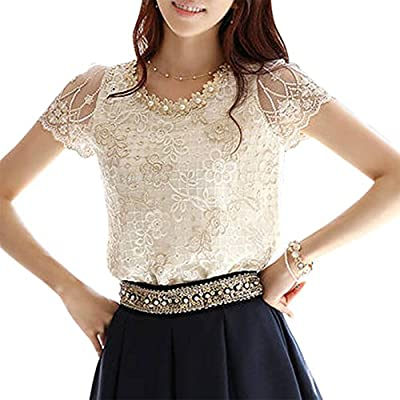 TopTie Women's Short Sleeve Embroidered Chiffon Top Casual Loose Blouse Shirt