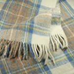 Stewart Muted Blue Tartan Wool Blanke...