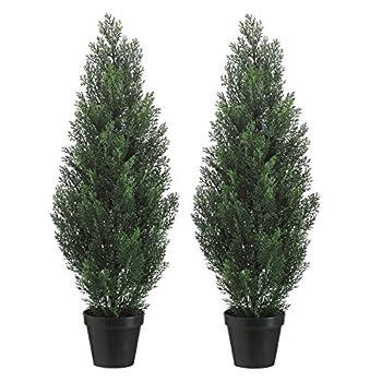 Set Of 2 Pre-potted 3 Foot Artificial Cedar Topiary Outdoor Indoor Trees
