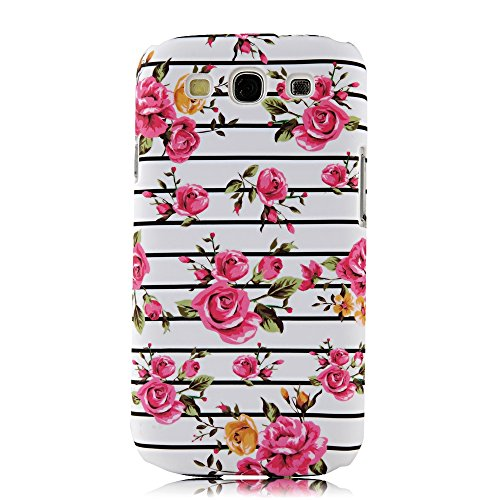 S3 Case, Galaxy S3 Case - Mollycoocle Fashion Style Colorful Painted Pattern Pc Hard Cover Case For Samsung Galaxy S3 I9300 T-Mobile T999 L710 Sprint/T999 T-Mobile/I747 At&T/I535 Verizon(Stripes With Flowers)