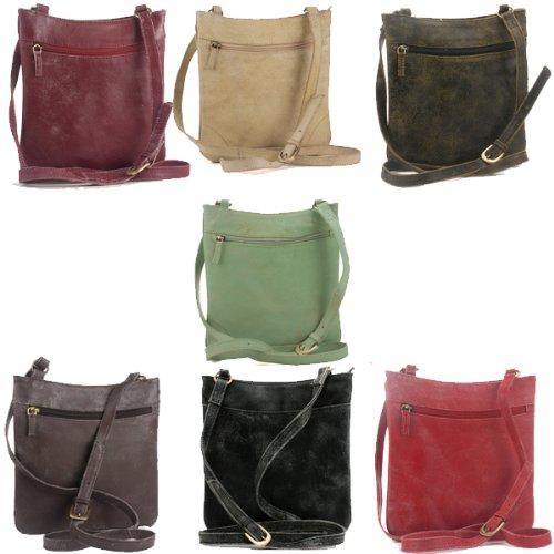 M Zip Top Cross-Body Bag - Becka - Cracked Leather