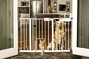 Carlson 0930PW Extra-Wide Walk-Thru Gate with Pet Door, White