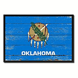 Oklahoma State Shabby Chic Flag Art Canvas Print Custom Picture Frame Office Wall Home Decor Gift Ideas, 19\