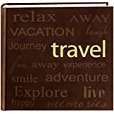 """Pioneer """"Travel"""" Text Design Sewn Faux Suede Cover Photo Album, Brown"""