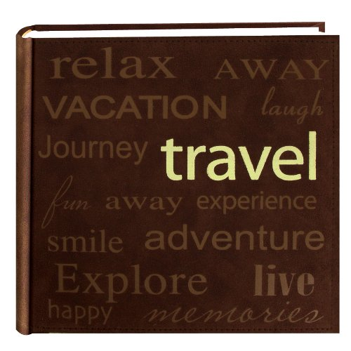 "Pioneer ""Travel"" Text Design Sewn Faux Suede Cover Photo Album, Brown"