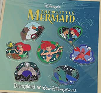 "Disney Parks ""Little Mermaid"" Booster Pack Trading pins Set - (7 Pins Included) - Disney Parks Exclusive & Limited Availability + Double Sided Princess Stamp Inlcuded"