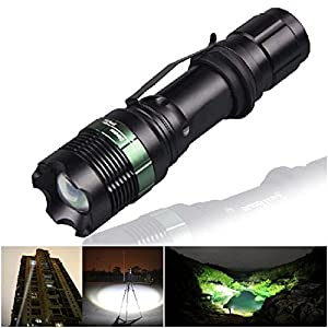 Extreme Popular 3 Mode LED Flashlight 2200LM Zoomable Waterproof Lamp Aluminum Torch Color Black with Battery Charger