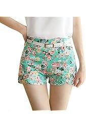 Nicerocker Summer Floral Print Elastic Waist Short Pants (Lake Green)