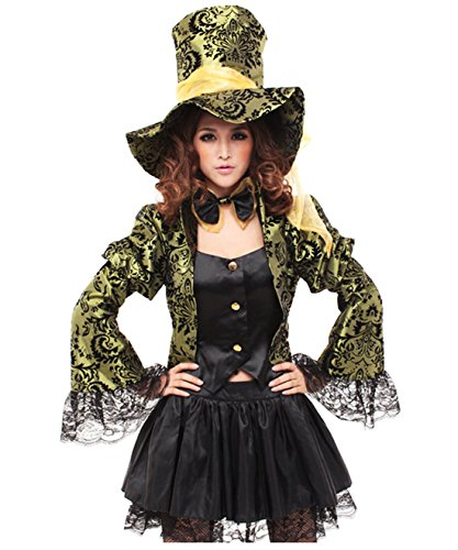 Coolsky Alice in Wonderland Mad Hatter Santa Christmas Suit Costume