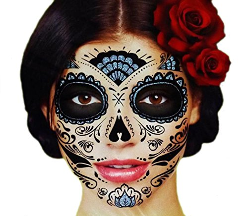 Black Glitter Skeleton Day of the Dead Temporary Face Tattoo Kit: Men or Women - 2 Kits (Day Of The Dead Face Tattoo)