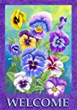 Beautiful Spring Summer Pansy Welcome Garden Flag