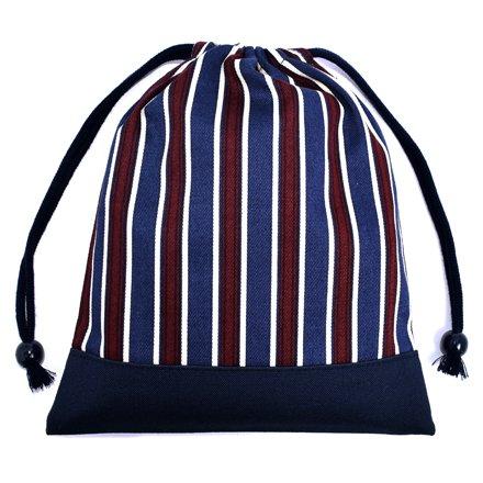 ごきげんランチの巾着(中サイズ)マチ無し給食袋 ブリティッシュストライプ・ボルドー × 帆布・紺 日本製 N7072300