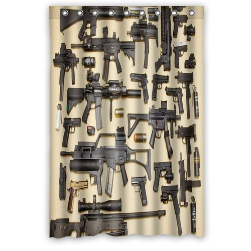 Custom Firearms Guns Shower Curtain Stylish Waterproof Polyester Fabric Bathroom Deco 48