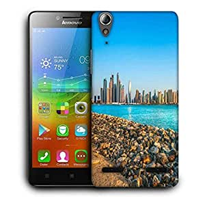 Snoogg Buildings And Green Water Printed Protective Phone Back Case Cover For Lenovo A6000