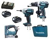 Makita 18V LXT Li Ion LXT202 Kit BHP458, BTD140 & BST221 BST221Z BST221Rfe Stapler