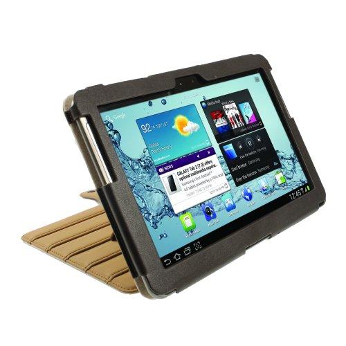 igadgitz Braun 'ArmourDillo' Echt Leder Tasche Ledertasche Hülle Schutzhülle Etui Case für Samsung Galaxy Tab 2 P5100 P5110 10.1 Android 4.0 3G Internet Tablet