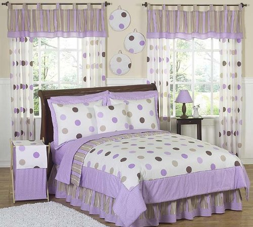 Purple And Brown Modern Dots Teen Bedding 3Pc Full / Queen Set By Sweet Jojo Designs front-120270