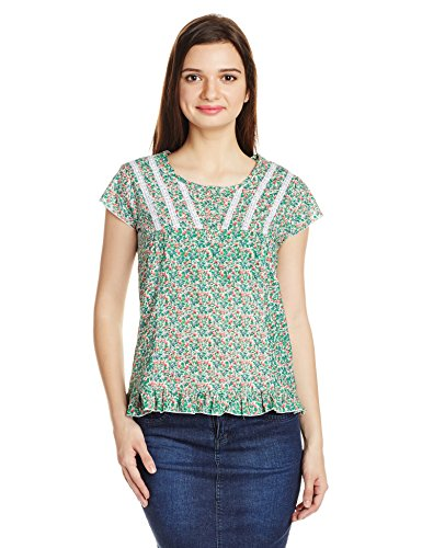 Style Quotient By NOI Women's Top (SS16SQSUHANA_Green and Red_Small)  available at amazon for Rs.174