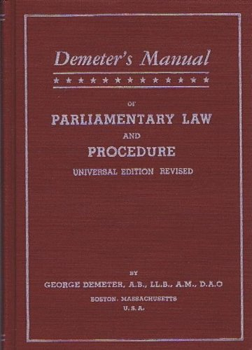 Demeter's Manual on Parliamentary Law and Procedure Universal Edition Revised (Demeter Press compare prices)