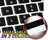 MAC SWISS MULTILINGUAL KEYBOARD STICKERS BLACK BACKGROUND FOR DESKTOP, LAPTOP AND NOTEBOOK