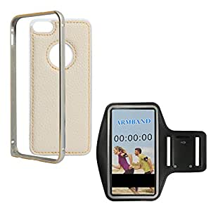 DMG Metal Frame and Leather Back Bumper Dual Protection Cover Case For Apple iPhone 5/5S (Almond) + Exercise Workout Armband